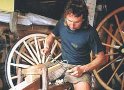 Spoke making for wooden carriage wheels by Greg Lang at The Wheelwright Shop, Gladstone, New Zealand