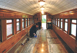 Vintage wooden-framed train carriage - restoration by The Wheelwright Shop, New Zealand.